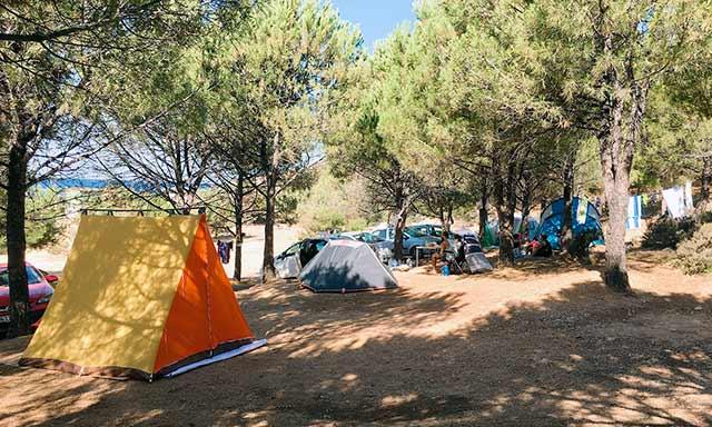 Gökçeada'nın en güzel koylarından biri olan Uğurlu Plajı'nda çam ağaçlarının altına çadırınızı kurabilirsiniz.
