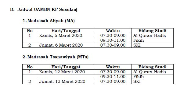 Jadwal UAMBN 2020