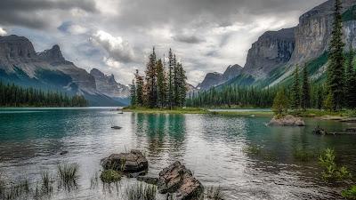HD Wallpaper Lake, Mountains, Trees, Rocks, Landscape