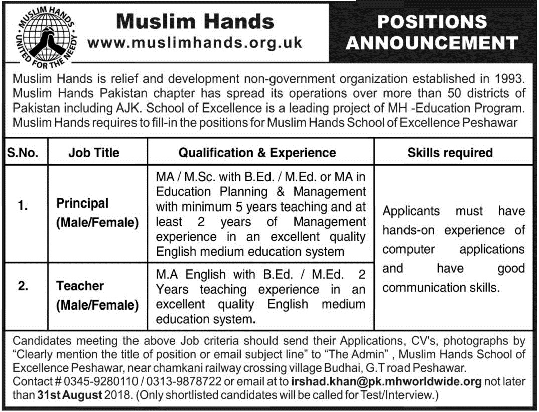 Muslim Hands Organization Jobs for Male/Female