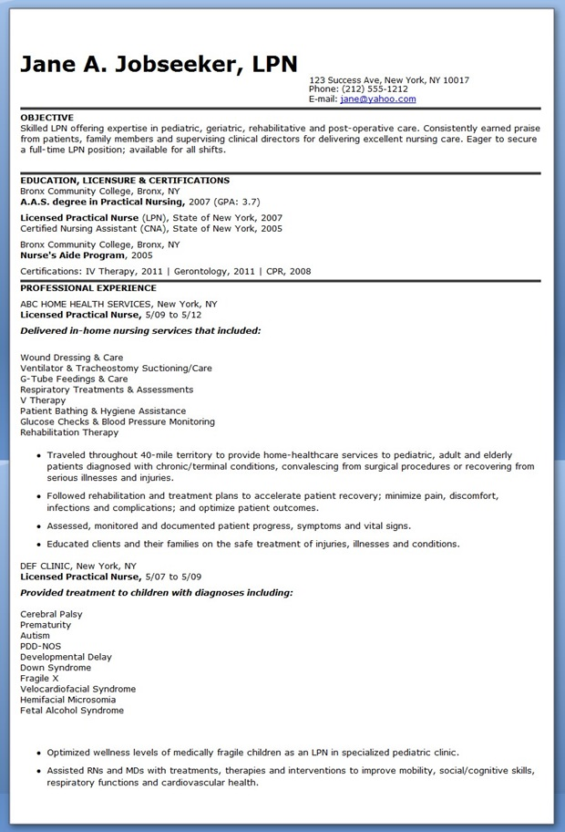 Sample Of Lpn Resume Sample Resumes