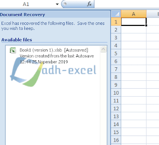 fungsi document recovery dalam excel