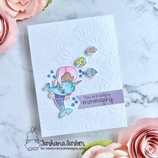 Mermaid Card by Farhana Sarker   Narly Mermaids Stamp Set, Tropical Fish Stencil and Banner Trio Die Set by Newton's Nook Designs #newtonsnook
