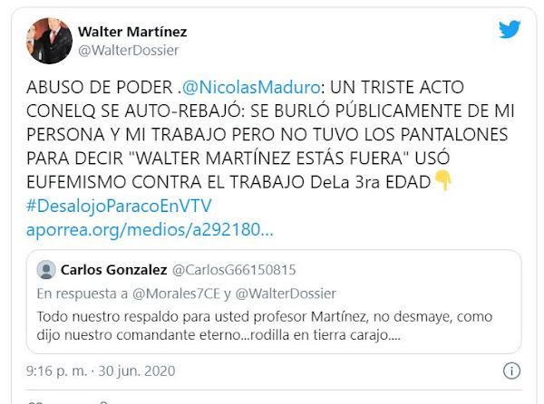 Solounojo Walter Martinez le da hasta con el tobo a su ex-jefe  Maduro