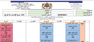 استعمال الزمن المستوى الثالث ابتدائي عربية صيغة التدريس بالتناوب