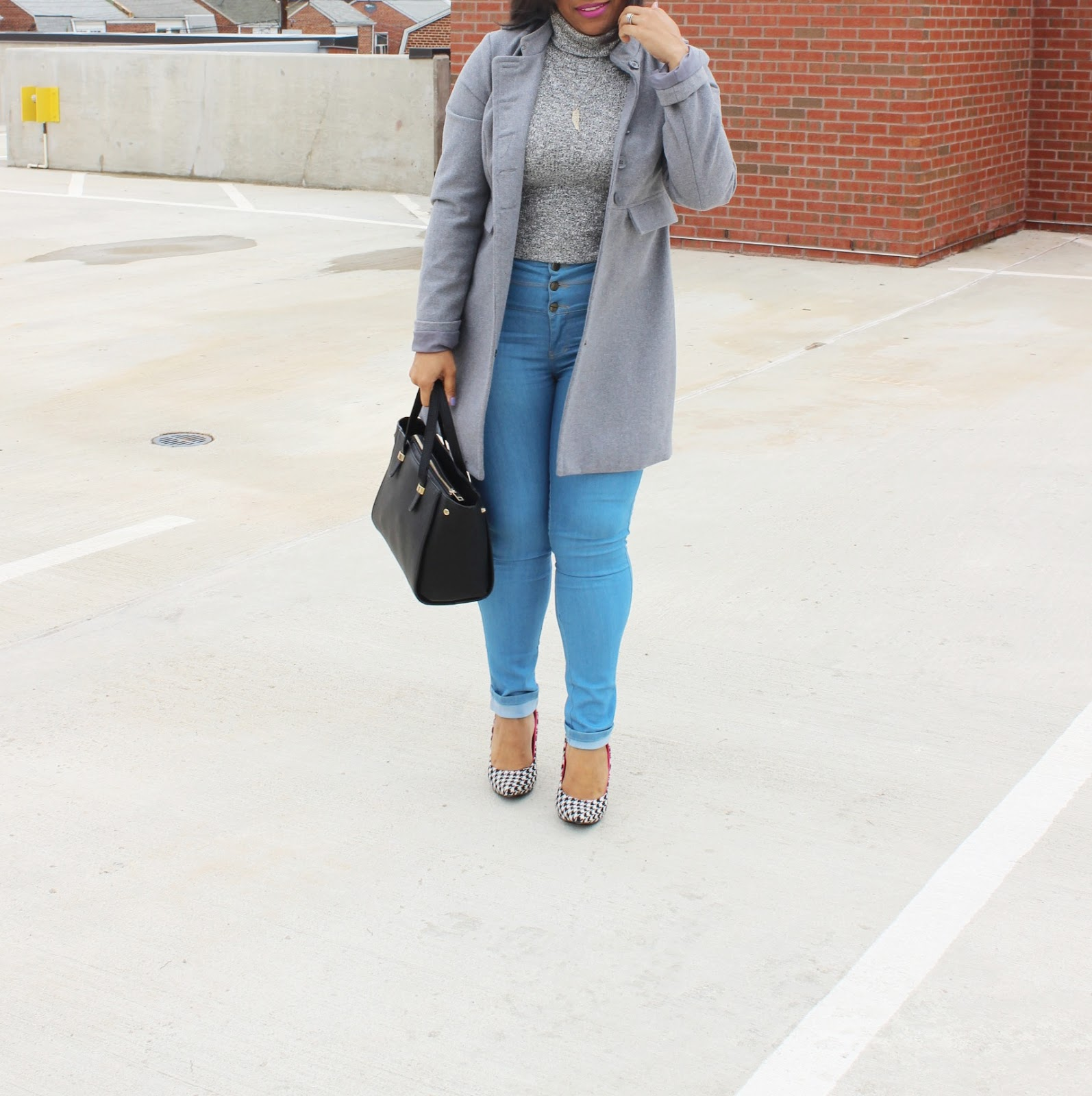 houndstooth pumps, grey looks, fashion blog, chic looks