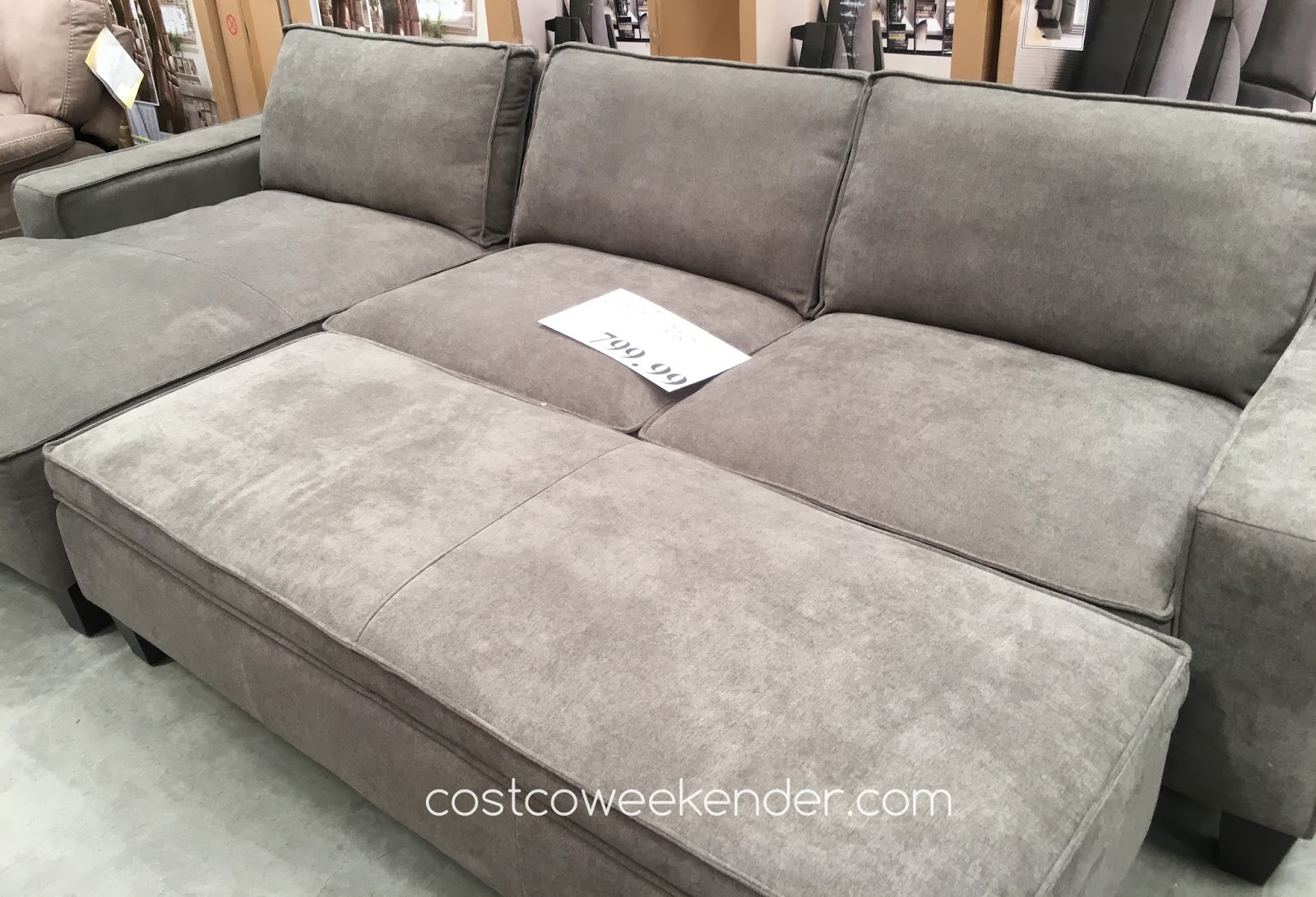 Chaise sofa with storage ottoman costco weekender for Chaise and ottoman