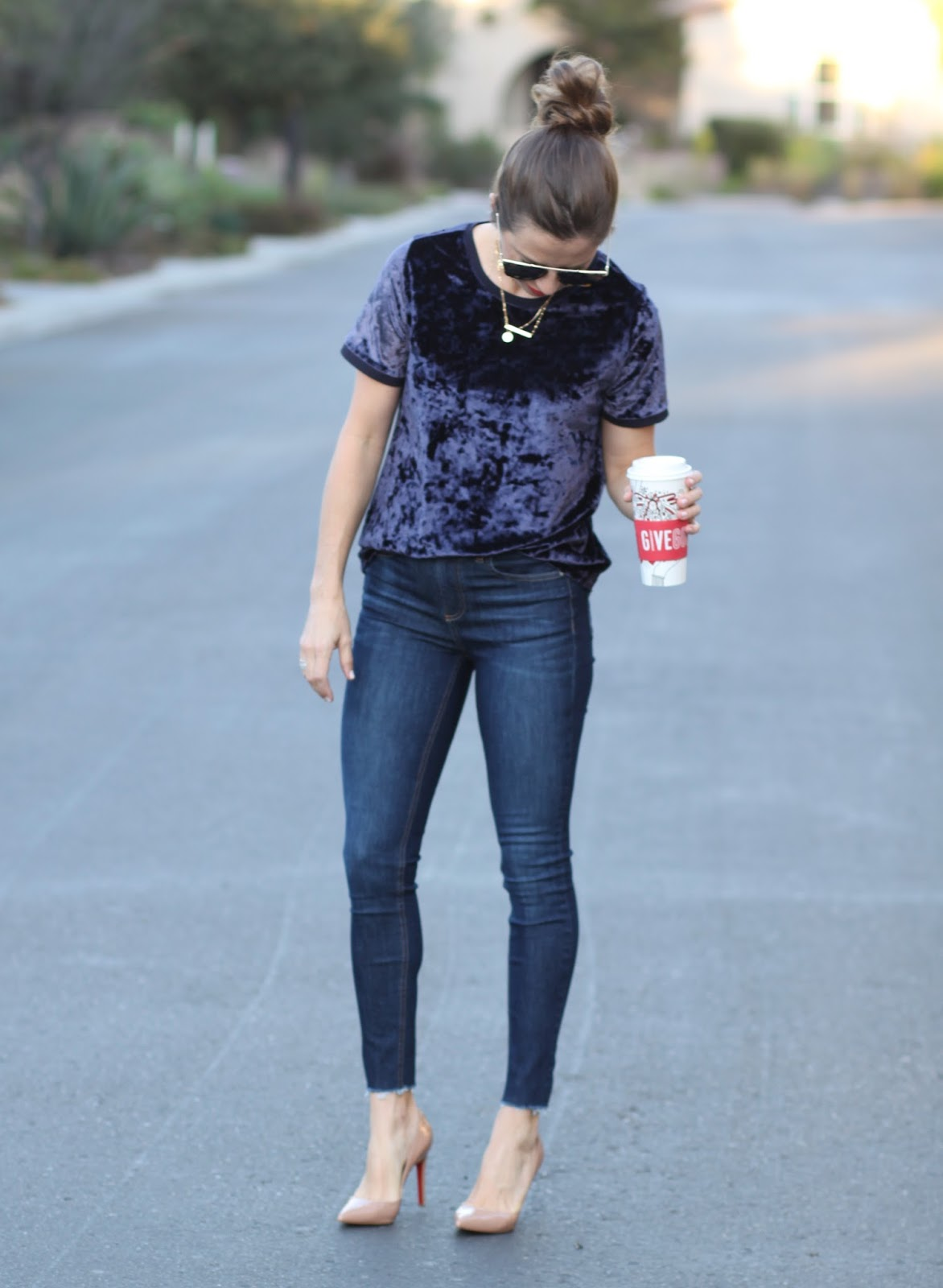 velvet tee and skinny jeans outfit