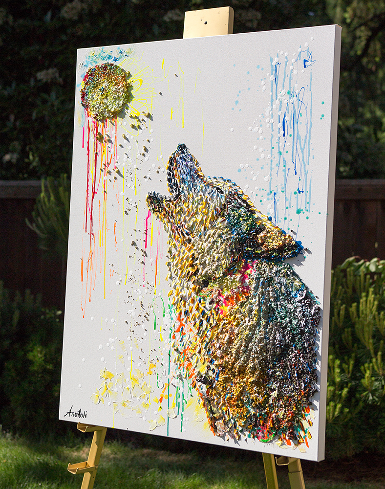 Wolf howling dot painting,Wolf howling heavy textured painting, mixed Wolf howling, unique Wolf howling painting on canvas, anatoli Wolf howling, anatoli voznarski, 3D Wolf howling painting,Wolf howling oil, animal oil painting, abstract wolf, oil wolf