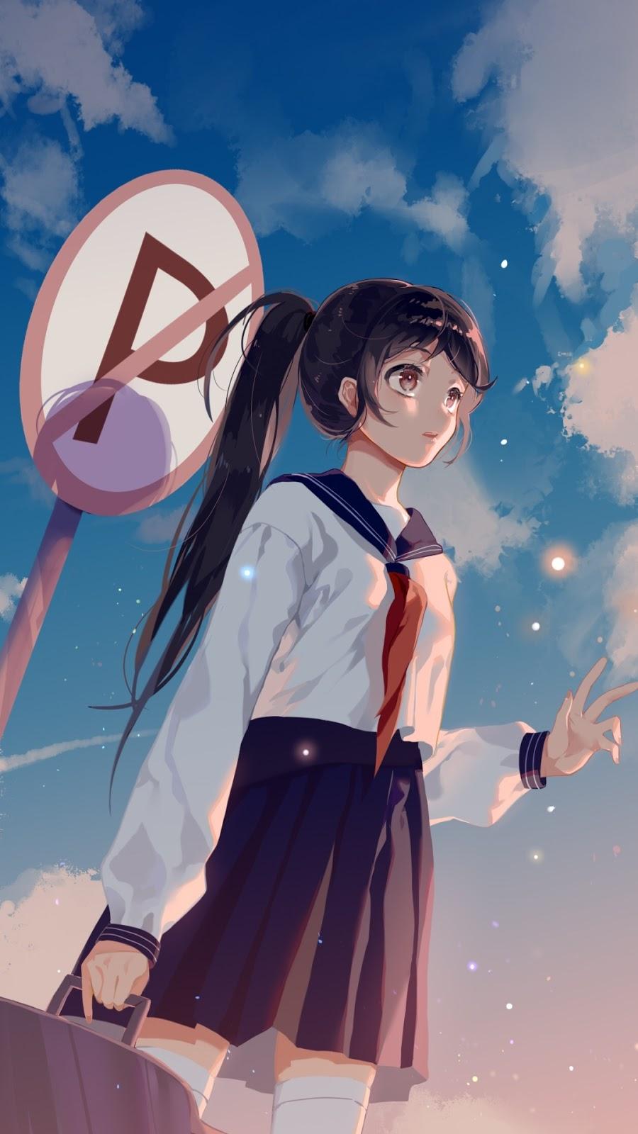 Ponytail anime girl mobile wallpaper