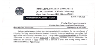 HPU Recruitment 2020-57 Teaching Posts