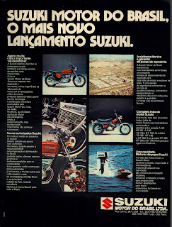 propaganda moto Suzuki - 1975.  brazilian advertising cars in the 70. os anos 70. história da década de 70; Brazil in the 70s; propaganda carros anos 70; Oswaldo Hernandez;
