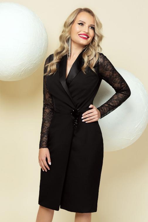 Rochie eleganta neagra de ocazii petrecuta cu maneci din dantela