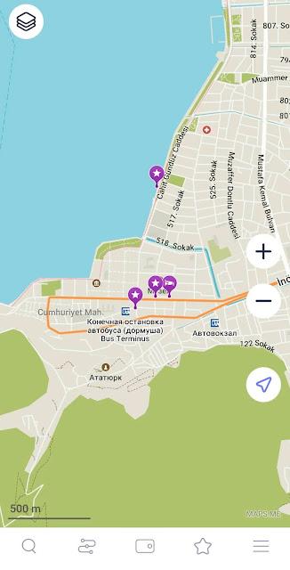 Обозначение конечной остановки автобуса в Фетхие на карте Maps.me
