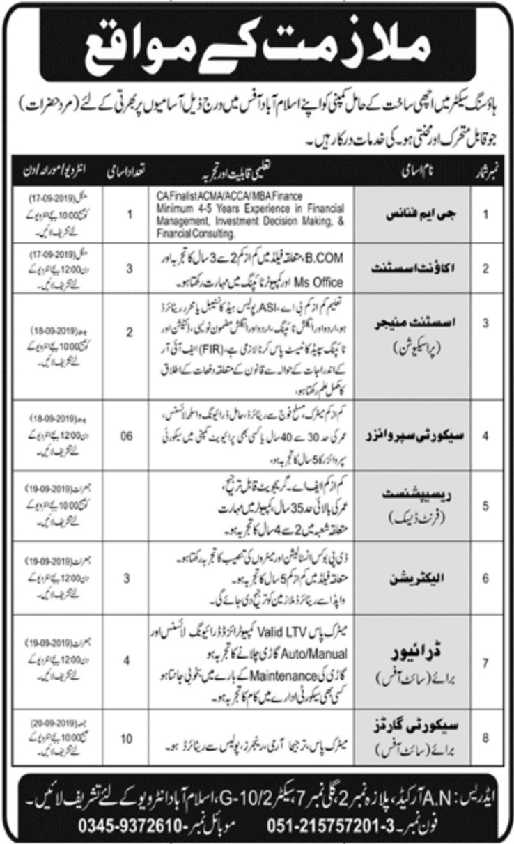 Jobs in Housing Sector Islamabad 2019