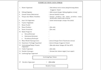 Contoh Formulir Isian Data ORMAS Untuk Mendapatkan SKT dari KESBANGPOL