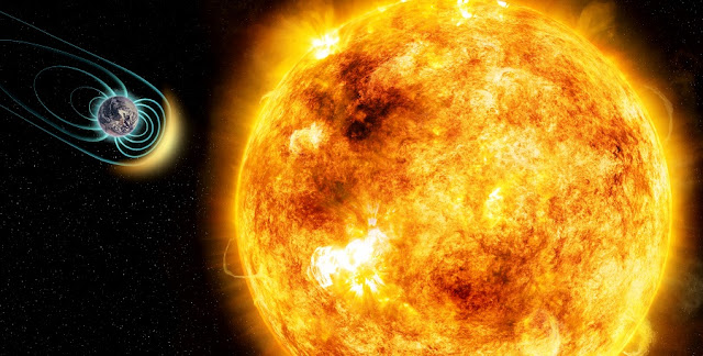 In this artist's illustration, the young Sun-like star Kappa Ceti is blotched with large starspots, a sign of its high level of magnetic activity. New research shows that its stellar wind is 50 times stronger than our Sun's. As a result, any Earth-like planet would need a magnetic field in order to protect its atmosphere and be habitable. The physical sizes of the star and planet and distance between them are not to scale. Credit: M. Weiss/CfA