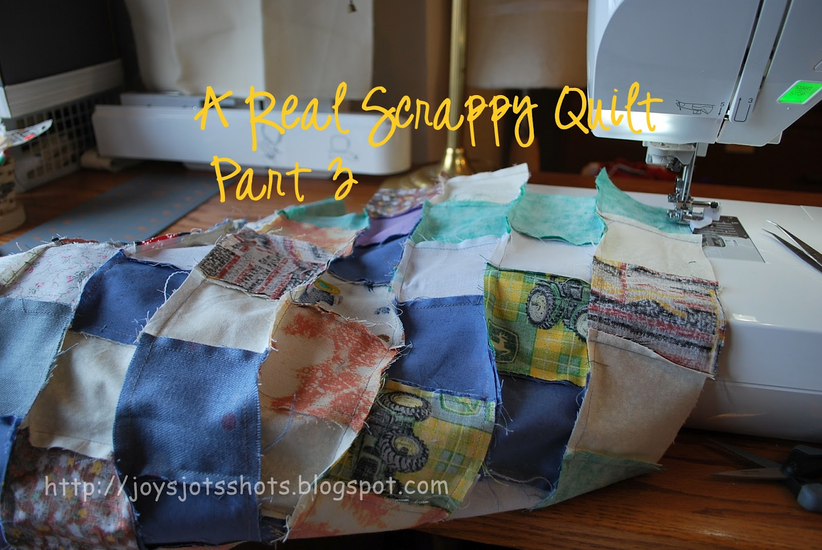 http://joysjotsshots.blogspot.com/2012/03/real-scrappy-quilt-part-3.html