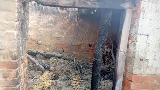 अज्ञात कारणों से घर पर लगी आग पूरा समान जलकर हुवा खाक
