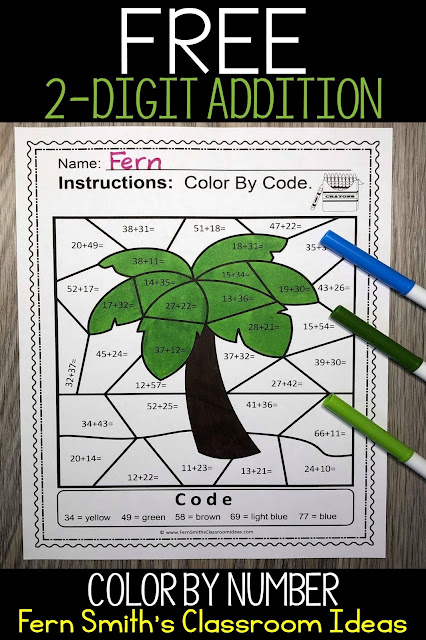 Free Color By Number Practice 2-Digit Addition Color Your Answer Worksheet By Fern Smith's Classroom Ideas.