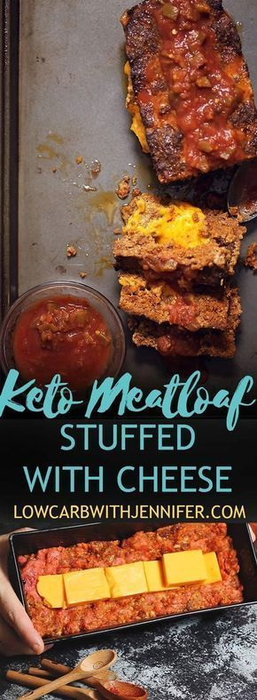 Keto Meatloaf Stuffed with Cheese