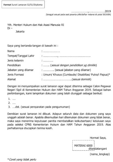 Contoh Surat Lamaran Kerja CPNS (via: caradaftarcpns.com)