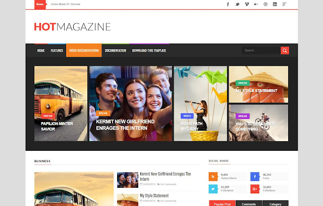 Hot Magazine Responsive Magazine News Sites Tips and Tricks Tutorial Blogger Template Theme
