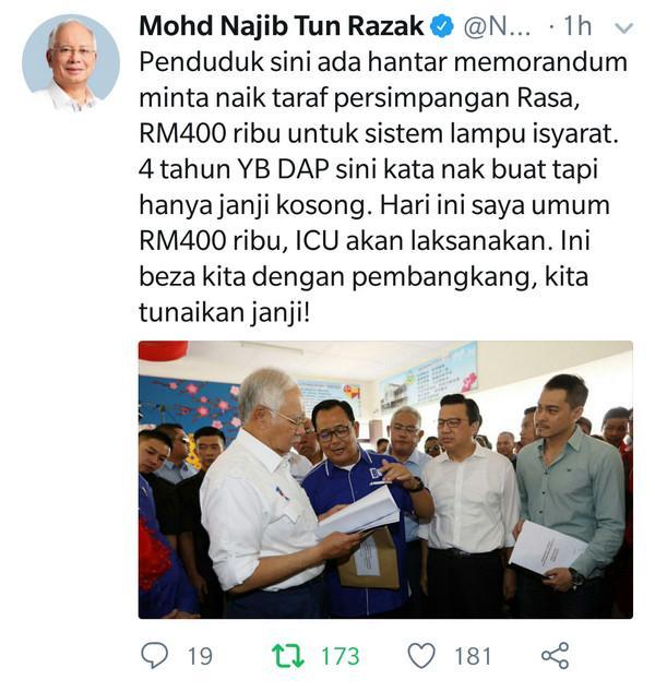 PM luluskan RM400,000 naik taraf persimpangan Rasa
