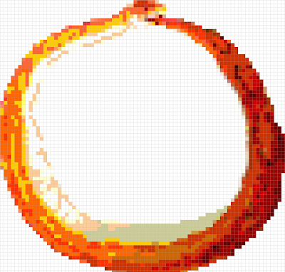 pixel art of orange corn snake in an ouroboros pose