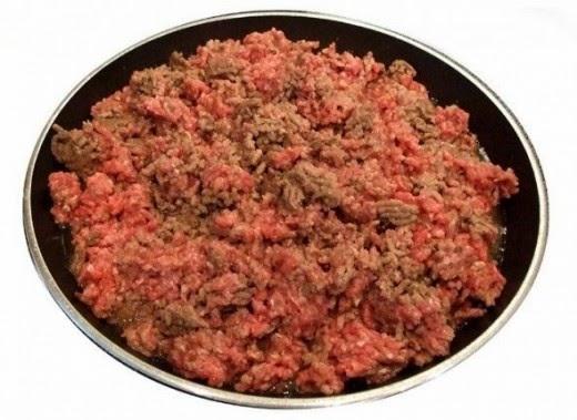 ground meat frying for my award winning chili recipe