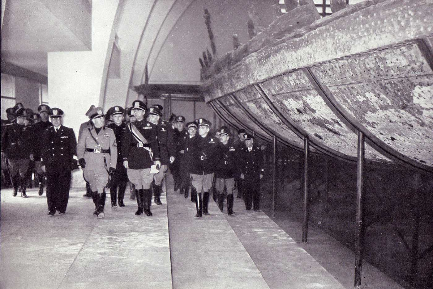 Benito Mussolini attending the inauguration of Museum of Nemi (Il Museo delle Navi Romane).