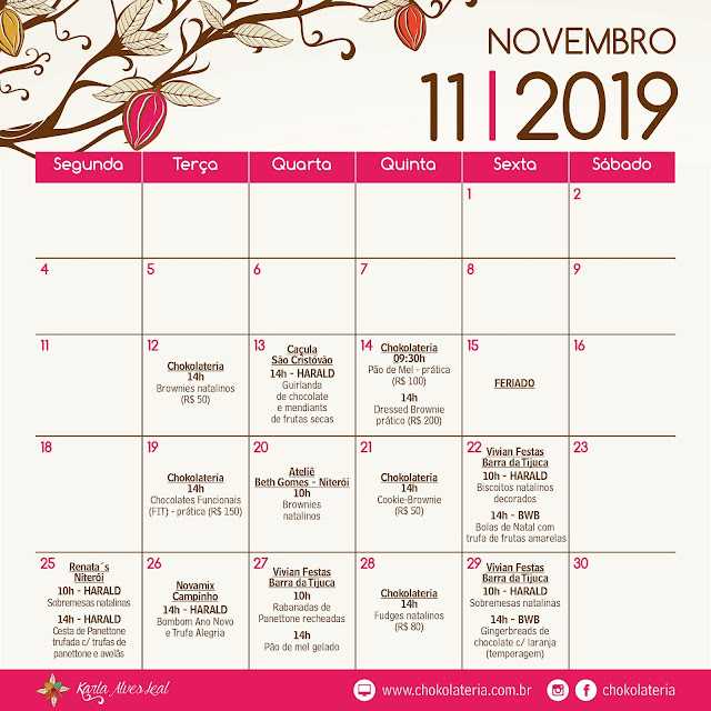 Aulas de Confeitaria Criativa - Novembro 2019