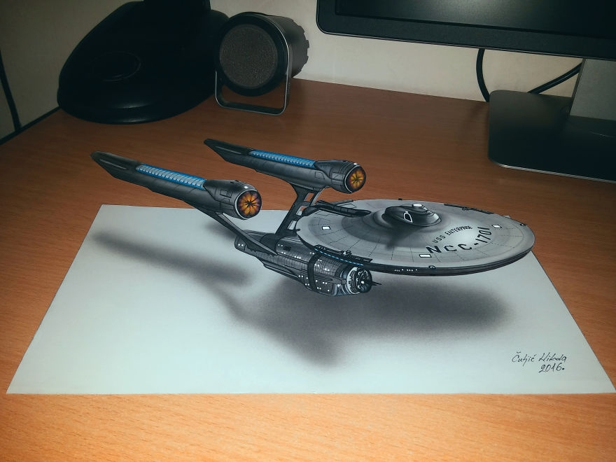 05-Star-Ship-Enterprise-Nikola-Čuljić-2D-Anamorphic-Drawings-that-Look-3D-www-designstack-co