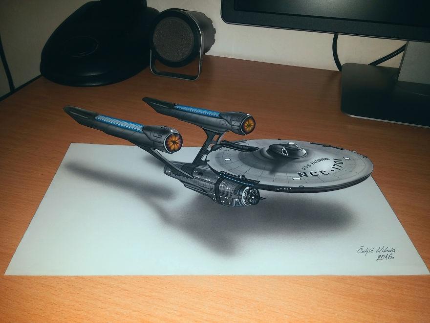 05-Star-Ship-Enterprise-Nikola-Čuljić-2D-Anamorphic-Drawings-that-Look-3D-www-designstack-co