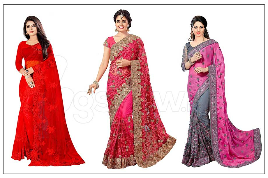 Buy Designer net Saree on amazon with price 500 to 1000, Big Diwali Sale offer