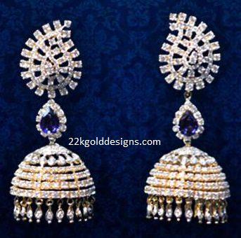 Sapphire Diamond Jhumkas