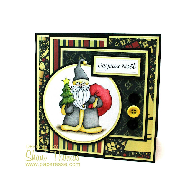 Christmas card featuring Scribble's Woodland Santa digital stamp, by Paperesse.