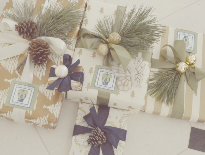 Beautiful Christmas presents with gold wrapping - The Enchanted Home