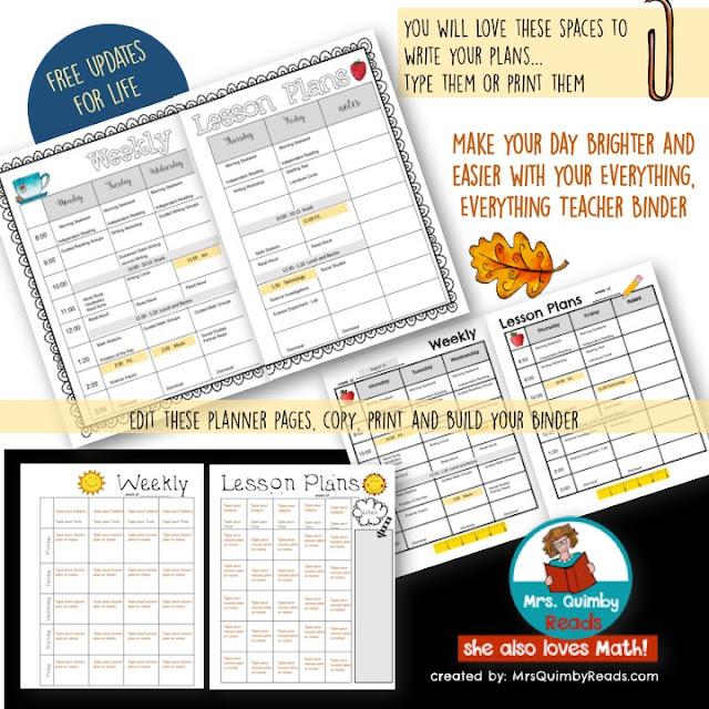 teacher weekly lesson planner, teacher binder