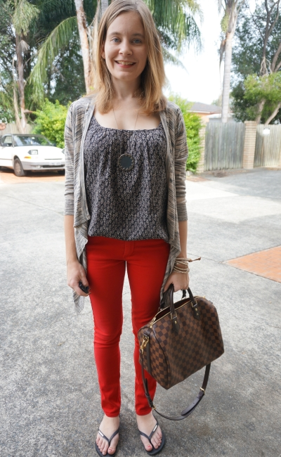 print mixing cami marle cardigan red skinny jeans brisbane casual autmn outfit