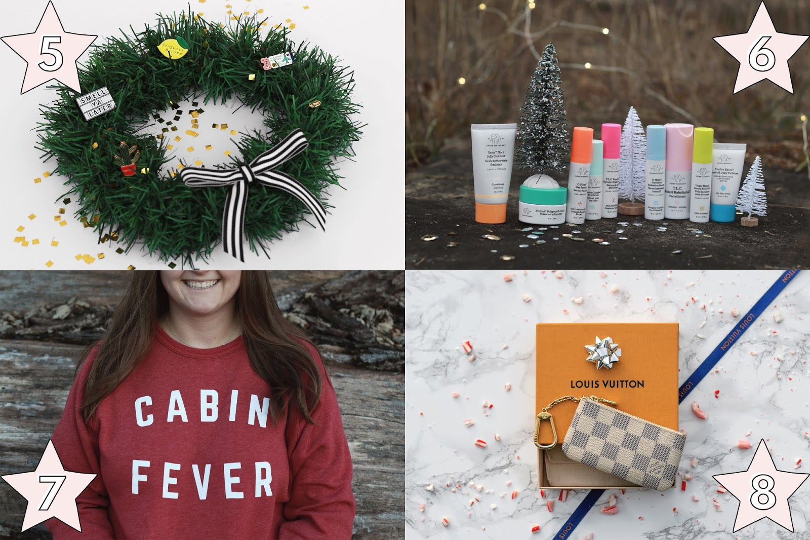 unique holiday gift ideas for her, affordable holiday gift ideas for her, NESW wax co fun enamel pins gift idea for her, Drunk Elephant the Littles gift idea for her, Lake Effect Co cabin fever crewneck cozy gift idea for her, louis vuitton keypouch gift idea for her, holiday christmas gift ideas for her