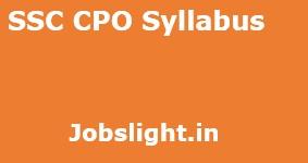 SSC CPO Syllabus 2017