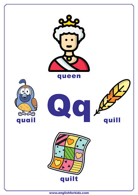 English alphabet poster - letter Q