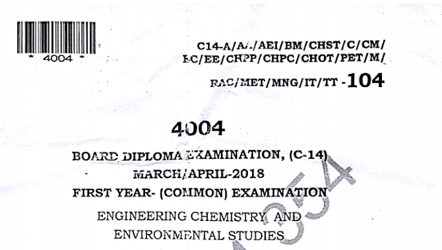 Diploma Engineering Chemistry Previous Question Paper c14 Mechanical March/April-2018