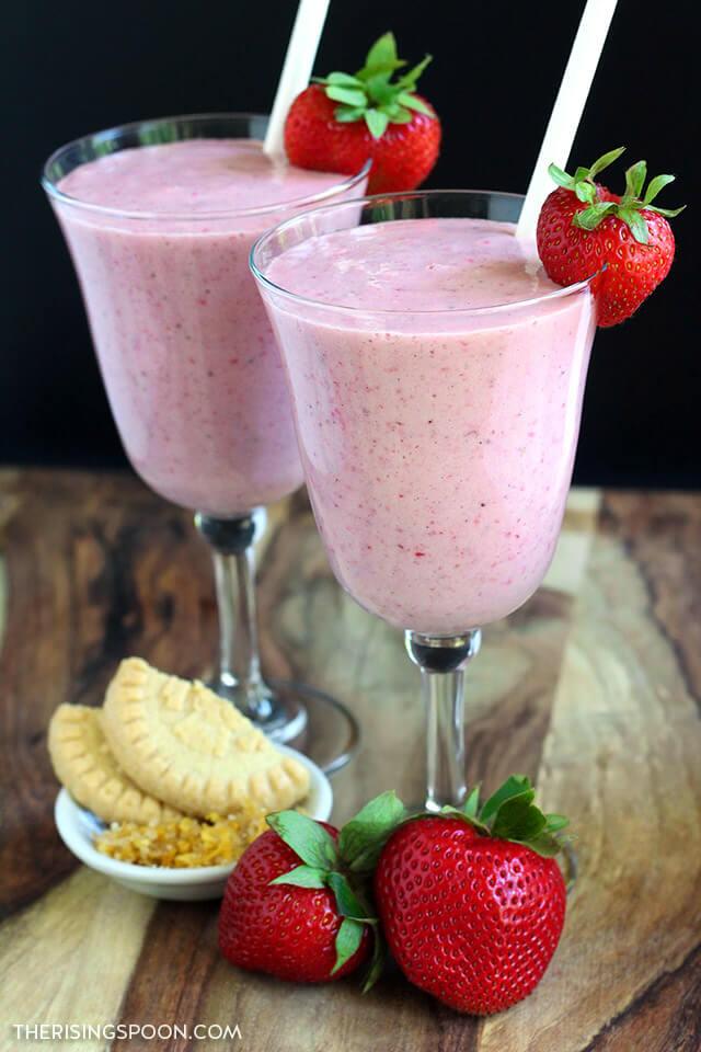 Lemony Strawberry Shortcake Milkshakes