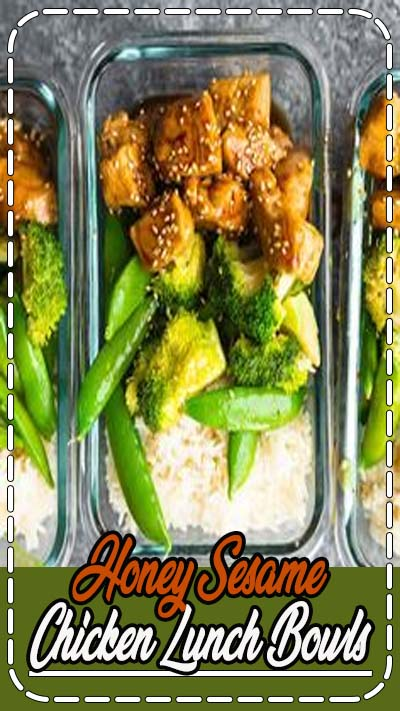 These Honey Sesame Chicken Lunch Bowls have chicken breast, rice and veggies tossed in a sticky sweet and savory sauce. Perfect for healthy meal prep lunches. #sweetpeasandsaffron #video #freezer #mealprep #glutenfree #dairyfree