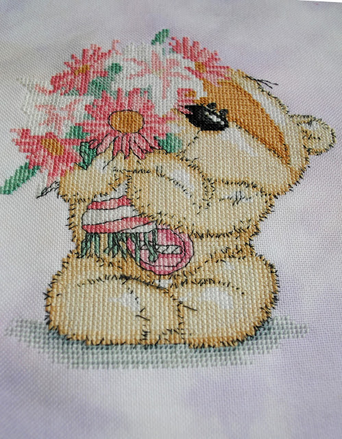 Fizzy Moon with Flowers Cross Stitch, World of Cross Stitching Magazine, Work in Progress