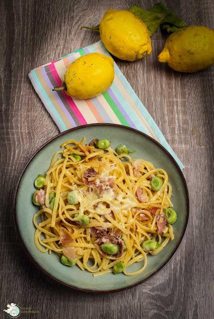 Pasta al limone, prosciutto e fave