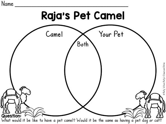 Integrated language arts and map skills lesson for Raja's Pet Camel by Anita Nahta Amin. Includes FREE Venn diagram printable. #kellysclassroomonline