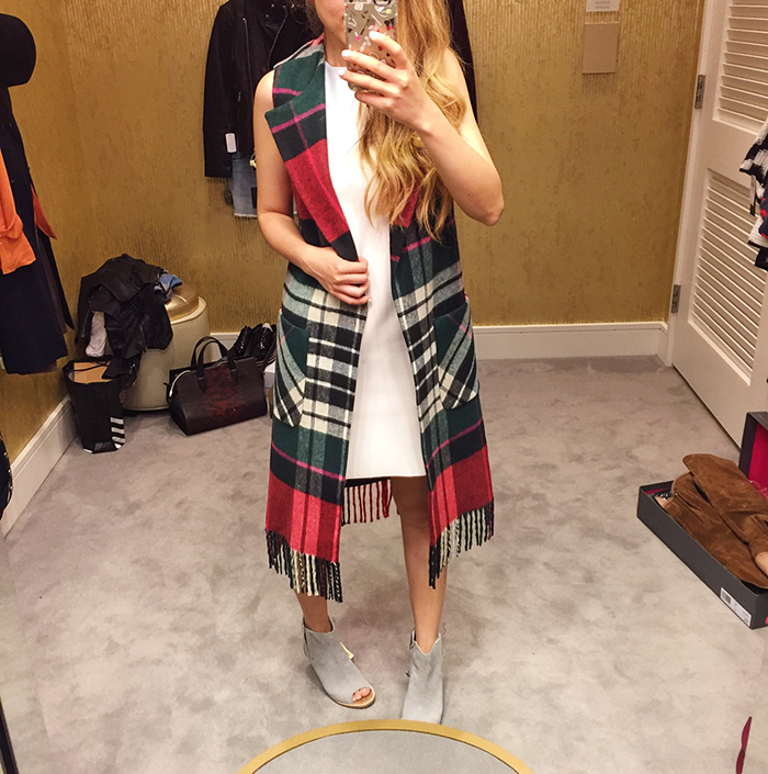 Nordstrom anniversary sale, NSale, fringe plaid vest, topshop dress, toms peep toe booties